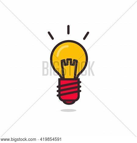 Light Bulb Icon. Glowing Light Bulb Symbol.