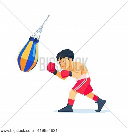 Young Boxer Doing Some Training On A Punching Bag At A Gym, Kid Taking Up A New Hobby. Cartoon Flat