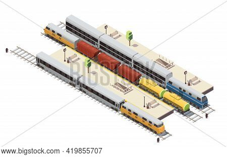 Railway Station Isometric Composition With Passenger Platforms Tunnel Staircase Entrance Freight Tra