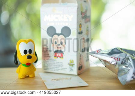 Samut Prakan, Thailand - May 9, 2021 : Cute Of Pluto Figures  From Miniso, Figures Is Random Form Bl