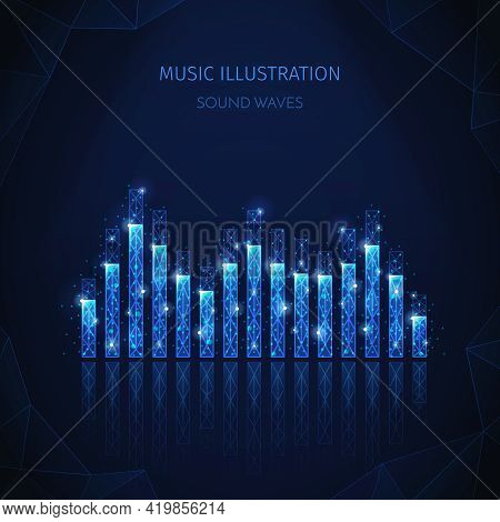 Music Media Polygonal Wireframe Composition With Editable Text And Image Of Equalizer Stripes With S