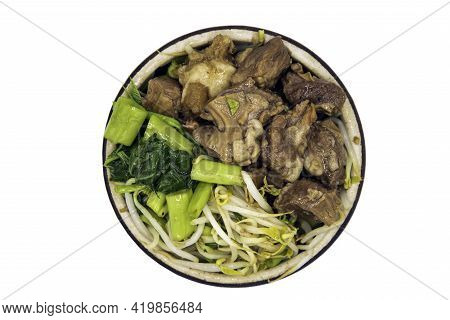 Braised Pork (stewed Pork) With Morning Glory And Bean Sprouts With Chines Herbs In White Bowl Isola