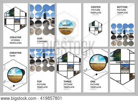 Social Networks Stories Design, Vertical Banner Or Flyer Templates. Covers Design Templates For Flye