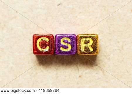 Metallic Color Alphabet Letter Block In Word Csr (abbreviation Of Corporate Social Responsibility) O