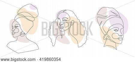 Set Of African Woman Faces In One Line Drawing. Abstract Vector Portrait Of Female In Minimalistic M