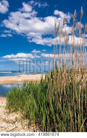 River Environment That Meets The Sea: The Foro River That Flows Into The Adriatic Sea In Abruzzo