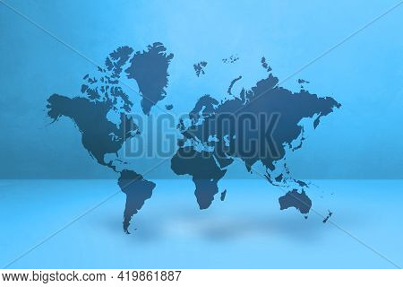 World Map Isolated On Blue Wall Background. 3d Illustration