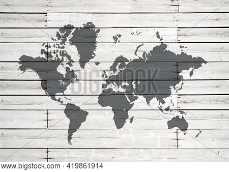 World Map Isolated On White Wooden Wall Background