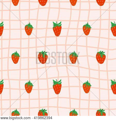 Strawberry Cage Seamless Pattern. Hand Drawn Forest Or Garden Berry. Whole Juicy Berries, Doodle Sum