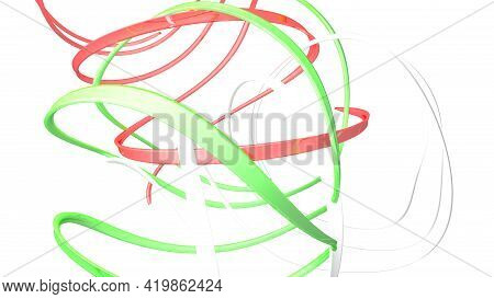 Italian Flag Abstract Ribbons On White Background - 3d Rendering Illustration
