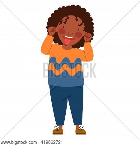 Curly-haired African Girl Made A Face And Showed Her Tongue