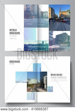 Vector Layout Of Two A4 Format Cover Mockups Templates For Bifold Brochure, Flyer, Magazine, Cover D