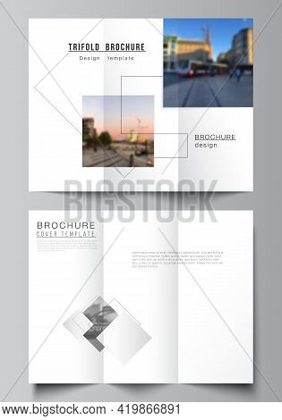 Vector Layouts Of Covers Design Templates With Geometric Simple Shapes, Lines And Photo Place For Tr