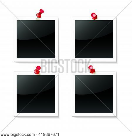 Photos Are Attached With Red Pushpins On A White Background. Empty Photo Frame. Template For Design.