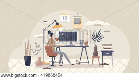 Home Workplace And Distant Office In Room As Workspace Tiny Person Concept. Isolation And Distancing