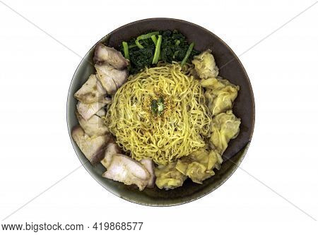 Egg Noodle With Roasted Pork And Wonton In Plate Isolated On White Background With Clipping Path.  C
