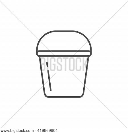 Bucket Or Pail Line Outline Icon Isolated On White