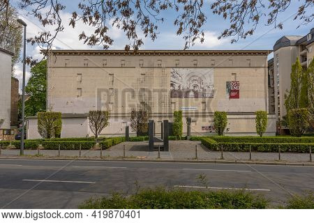 Frankfurt Am Main, Germany-may 03, 2021: High Bunker On The Square Of The Synagogue That Was Demolis