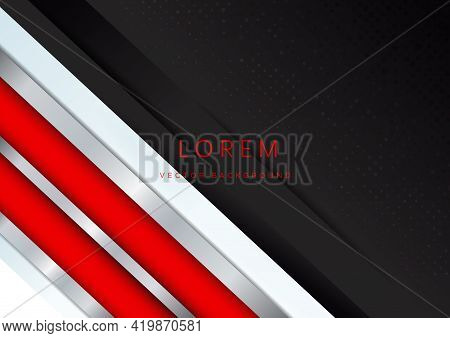 Template Corporate Banner Concept Red Silver Grey And Black Contrast Background. You Can Use For Ad,