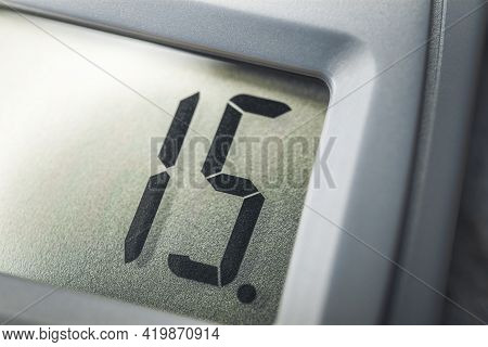 Number 15 On The Display Of A Solar Calculator