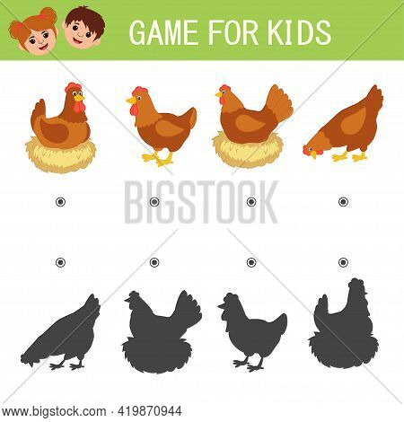 Game For Kids.find A Picture And Connect With A Shadow. Hen. Worksheet For Children. Activity For Pr