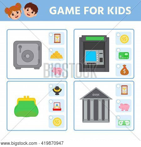 Education Logic Game For Preschool Kids For The Development Of Logical Thinking. Find A Match. Presc