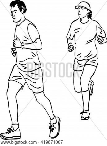 Freehand Contour Drawings Of Group Citizens On Morning Jogging