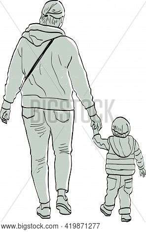 Drawing Of Silhouettes Mother And Her Baby Walking On A Stroll