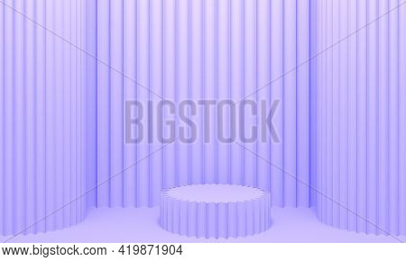 Lilac Abstract Background With Embossed Wall, Columns And Podium. 3d Rendering