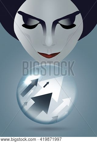 A Fortune Teller Peers Into Her Crystal Ball To See Stock Market Indicators Pointing In An Upward Di