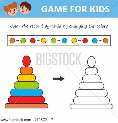 Educational Game For Preschool Children. Vector Illustration. Color The Pyramid. Learning For Presch