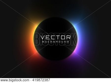 Abstract Background With Vivid Neon Colorful Light Behind The Black Circle. Eclipse Concept. Design