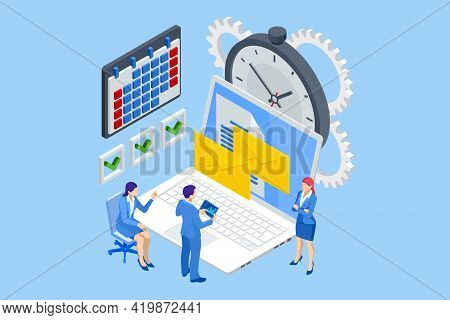 Isometric Time Management Concept. Planning Training Activities Schedule Checkpoints. Event Manageme