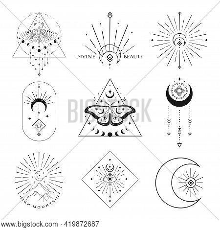 Abstract Mystic Black Vector Line Design Elements