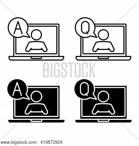 Question And Answer Support Icons. Simple Flat Symbol Of Laptop Computer. Man On The Laptop Monitor