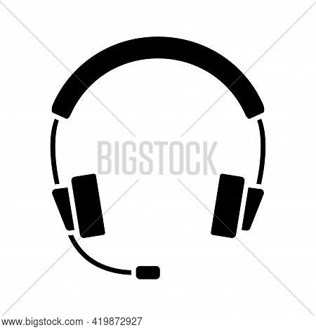 Earphones Icon. Headphones In Glyph. Headset In Silhouette. Headphones With Microphone, Can Be Used