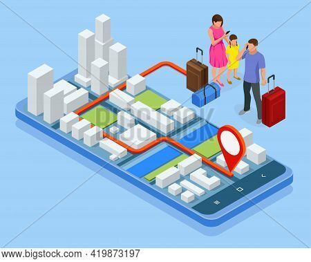 City App, Traveling Backpacker. Isometric Gps Navigation Concept. Tourist Traveling Using His Smartp