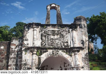 A Fomosa Is A Weathered Stone And Brick Ancient Former Portuguese Fort Built In 1512 In Melacca Mala