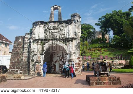 Melaka, Malaysia.  August 18, 2017.  A Fomosa Is A Weathered Ancient Former Portuguese Fort Built In