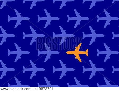 Bright And Different Aircraft For Promo Banner, Abstract Symbolic Poster With Airplanes For Business