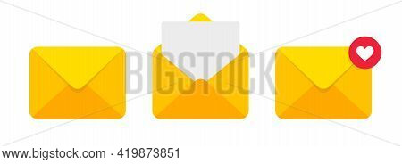 Mail Envelope Vector Icon. Closed, Open With A Message Email Envelope. Set Sms Vector Icons In Flat