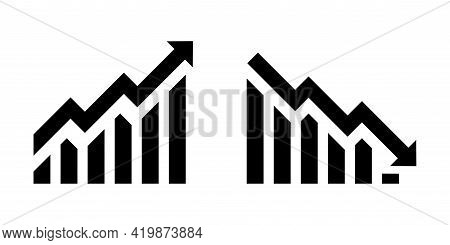 Growth Vector Icon. Graph Or Diagram With Arrow Going Up And Down. Graph Rise And Fall Business. Vec