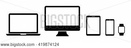 Devices Icons Set Of Smart Phone, Tablet, Laptop And Smart Watch. Collection Modern Digital Device I