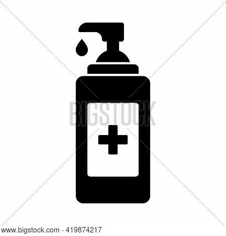 Antiseptic Icon. Hand Sanitizers. Alcohol Rub Sanitizer. Sanitizer Bottle Isolated On White Backgrou