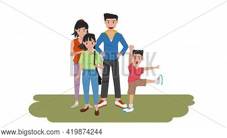 Happy Family Time Smiling And Standing On The Green Grass. Parents And Sons And Daughters. Son Stood