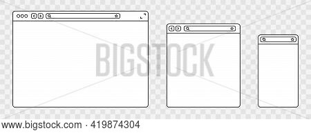 Line Browser Mockups Different Devices Web Window Mobile, Laptop And Tablet Screen In Internet. Outl