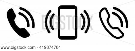 Phone Icon Set. Call Sign. Chat Vector Icons. Simple Web Button. Mobile Phone In Flat Style. Cell Ph