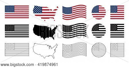 Usa Flag Icon Set. Stripes Flags United States With Stars. 4 July, Veteran And Memorial Day Vector B