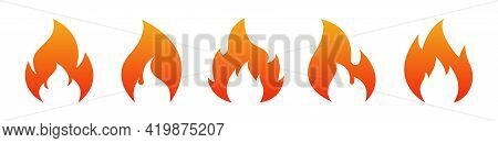 Fire Flame Icon Set. Fire Logo Design Template. Burn Signs Isolated On White Background. Vector Illu