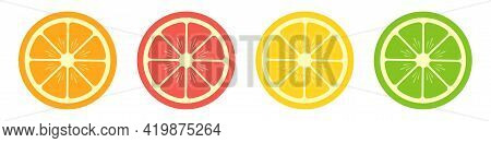 Fruit Slice On White Background. Set Of Citrus And Exotic Tropical Fruit. Round Colorful Slice Of Or